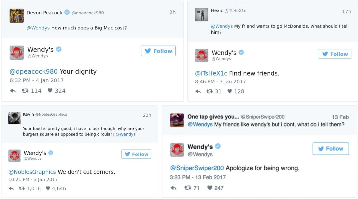 Wendys Social Responses