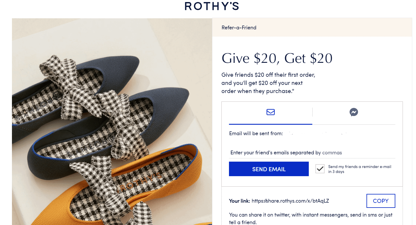 Screenshot of Rothys Website Referral Ad